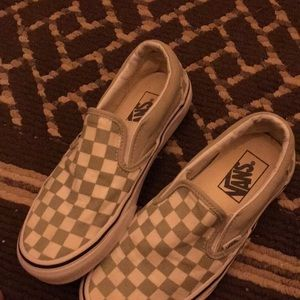 White and Army Green Checkered Vans